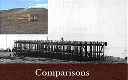 Sliding a vertical line back and forth across the two images reveals more of one and less of the other This allows the viewer to compare the accuracy of the virtual reconstruction of the construction of the expedition house against a historic photograph depicting the same subject.