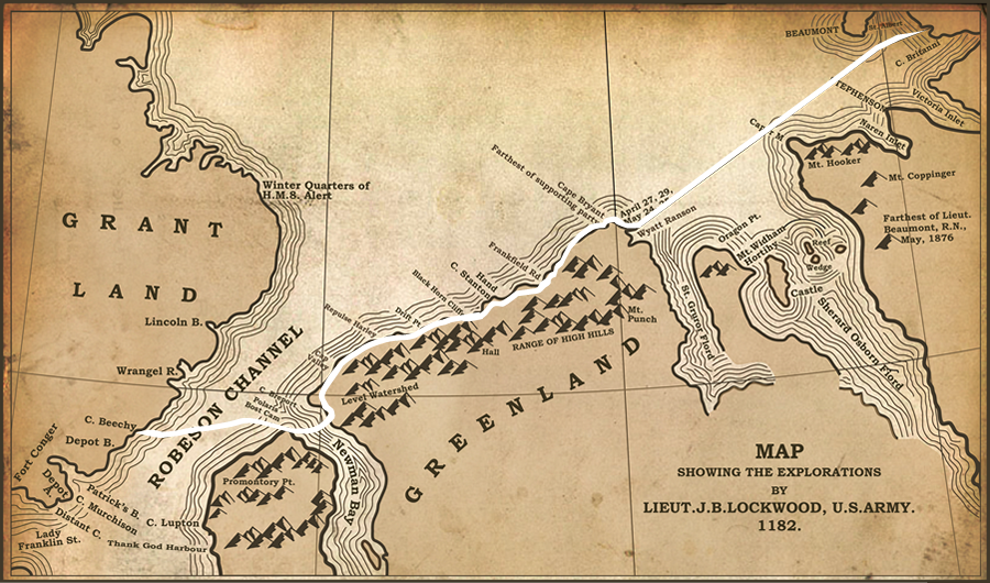The game shows a historic map illustrating the route taken by Lockwood, Brainard and Christensen when they achieved their farthest north record during the Lady Franklin Bay Expedition. Sledging rations consisting of Meat, Butter, Vegetables, Sugar, Milk, Tea. Chocolate, and Bread run along the bottom of the map. Clicking on a sledging ration reveals a drop down menu containing a choice of different amounts. The player selects an amount for each ration and clicks the 'Go' button. A red line appears tracing the distance (miles) your ration choices would have taken you, given the calories it provides and the weight of your sled.