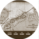 A small circular image showing the historic map illustrating the route taken by Lockwood, Brainard and Christensen when they achieved their farthest north record during the Lady Franklin Bay Expedition. Clicking on this image will start the 'Sledging in the Arctic game'