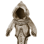 An icon for the sewing game, showing a traditional Inuit parka with a large hood, front tail and decorative trim.