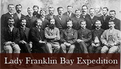 A historic photograph showing members of the Lady Franklin Bay Expedition. An old black and white portrait of the 22 men who served  on the  Lady Franklin Bay Expedition.