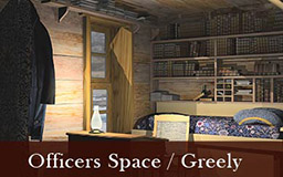 The images in this gallery provide a panoramic view of Adolphus Greely's quarters. Greely's desk and bed are located by the window. A bookcase filled with books is visible in the background. As we move around in 360 degrees, other features of the expedition house become visible, including the pendulum, Lockwood's quarters, and a doorway leading to other areas within the house.
