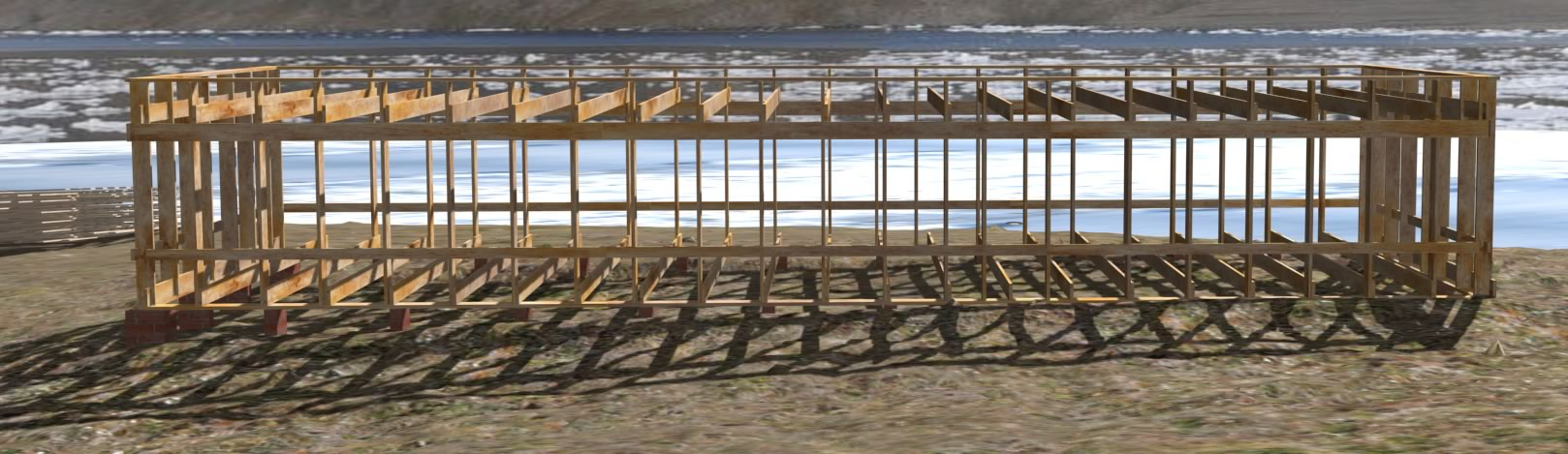 Virtual reconstruction of the same historic photo showing the house frame fully erected. Discovery Harbor is visible in the background.
