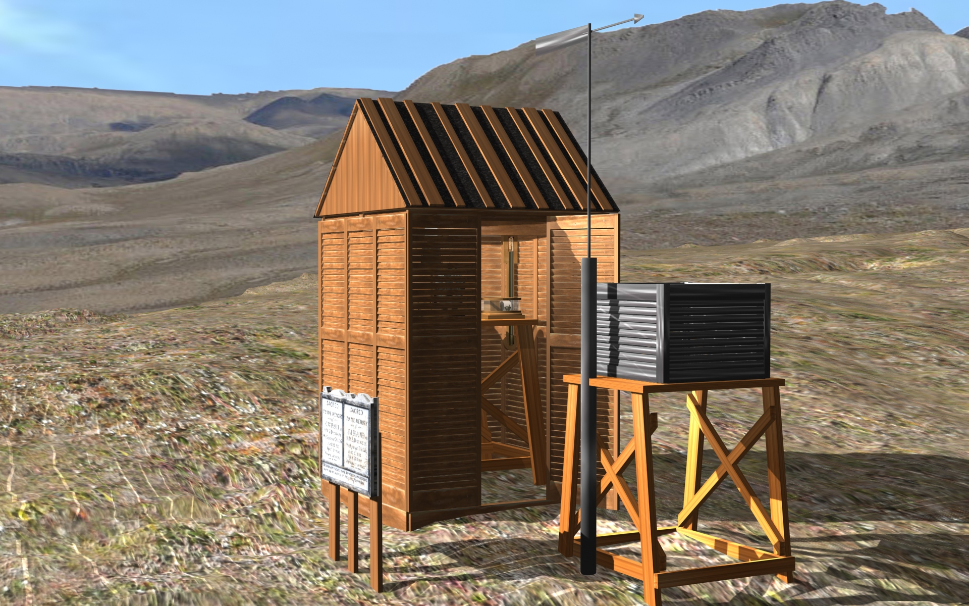 Computer reconstruction of the magnetic observatory used by The Lady Franklin Bay Expedition.