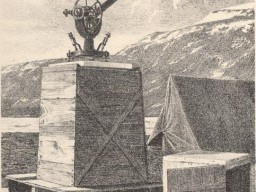 An illustration showing a scientific instrument sitting atop some wooden boxes near a tent at Fort Conger
