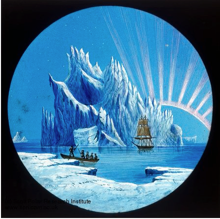 A historic illustration showing members of the British Arctic Expedition viewing a spectacular display of the aurora borealis (northern lights). The HMS discovery is in the background and a small boat of crewmen from the British Arctic Expedition is in th