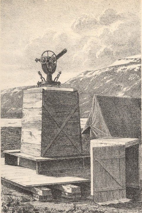 An illustration of a scientific instrument sitting atop boxes of supplies that are neatly stacked near a small canvas tent.