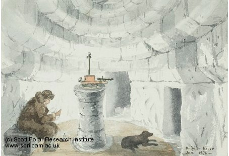 An illustration showing a man sitting inside a snow house measuring magnetic force using a unifilar magnetometer. A dog sits close by.