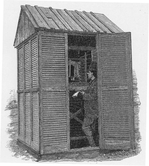 An illustration showing a man checking meteorological instruments inside of a small wooden observatory at Fort Conger