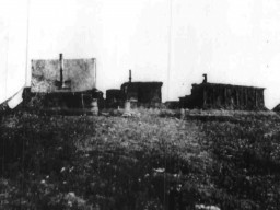 A showing Robert Peary's huts at Fort Conger