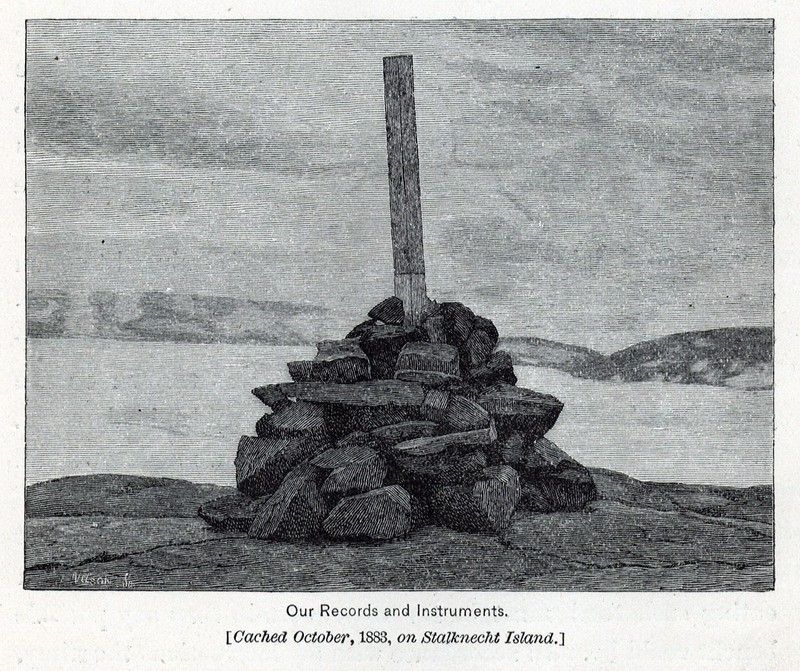 A historic illustration of Kater's pendulum in its wooden case placed upright in a pile of rocks in order to make a signal beacon
