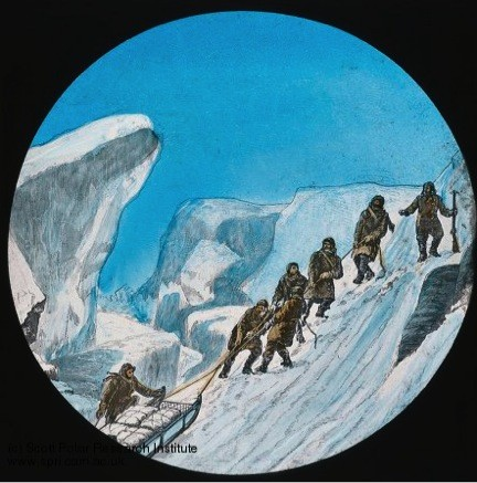 A historic illustration showing a group of men hauling a heavily laden sledge up a steep snowy incline.