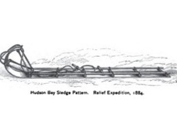 A historic illustration of a toboggan-like sled used by the Hudson Bay Company