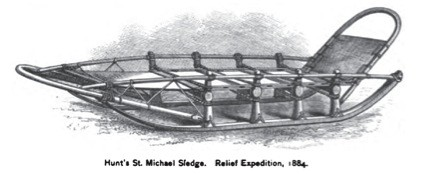 A historic illustration of a type of wooden sled used by 19th century European traders and explorers.