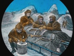 A historic illustration showing arctic sledgers taking a break. They lean over their packed sled smoking clay pipes and snacking on dried meat.