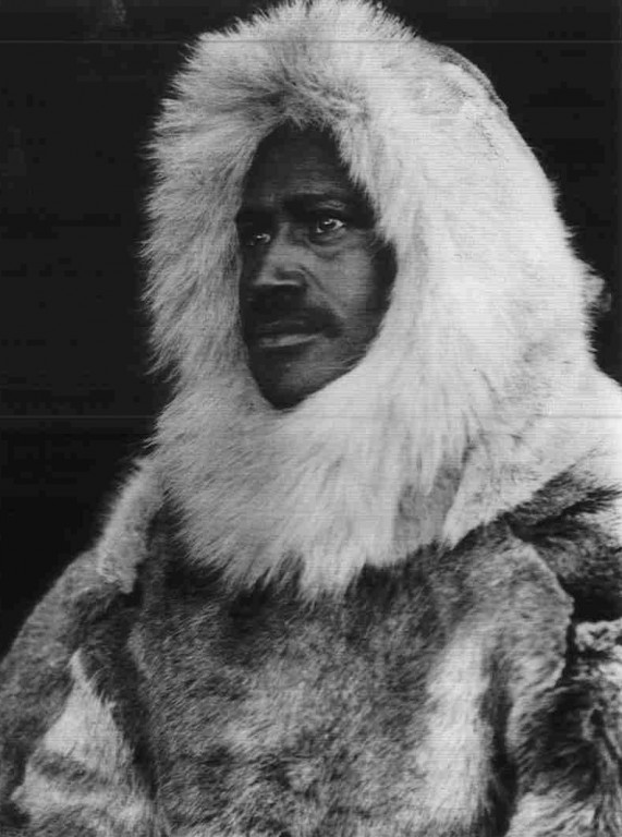 American Polar Explorers Robert Peary and Matthew Henson wearing traditional Inughuit clothing.